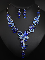 cheap -Women's Cubic Zirconia Bridal Jewelry Sets Earrings Set Classic Leaf Statement European Earrings Jewelry Red / Blue / Champagne For Party Wedding Two-piece Suit