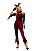 cheap -Burlesque Clown Pennywise Cosplay Costume Adults' Women's Halloween Halloween Halloween Festival / Holiday Terylene Black Women's Easy Carnival Costumes Solid Color / Leotard / Onesie / Gloves