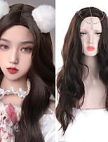 cheap -Cosplay wig Medium Long Bogen Black Gradient Pink Brown Synthetic wig Women's heat resistant fiber wig