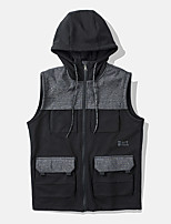 cheap -Men's Vest Gilet Daily Going out Fall Spring Short Coat Zipper Hoodie Loose Breathable Casual Jacket Sleeveless Plain Pocket Black Dark Gray