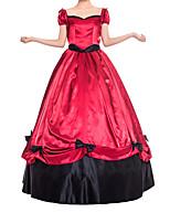 cheap -Ball Gown Elegant Vintage Halloween Quinceanera Dress Sweetheart Neckline Short Sleeve Floor Length Satin with Sash / Ribbon Bow(s) 2021