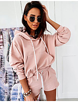 cheap -Women's Sweatsuit 2 Piece Set Drawstring Pocket Pullover Solid Color Sport Athleisure Clothing Suit Long Sleeve Breathable Soft Comfortable Everyday Use Street Casual Daily Outdoor / Summer