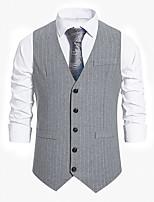 cheap -Men's Vest Gilet Business Daily Spring Summer Short Coat Regular Fit Lightweight Breathable Casual Jacket Sleeveless Striped Solid Color Pocket Dark Grey Light Grey Black