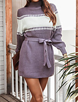cheap -Women's Sweater Sweater Dress Peplum Sexy Square Color Block City Beautiful Long Sleeve Regular Fit Sweater Cardigans High Neck Fall Winter Purple Grey Black