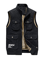 cheap -Men's Vest Daily Fall Winter Regular Coat Regular Fit Thermal Warm Sporty Jacket Sleeveless Solid Color Quilted Light Brown Khaki Green