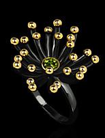 cheap -Women Ring AAA Cubic Zirconia Chunky Gold / Black Brass Floral Theme Artistic Elegant Fashion 1pc / Women's