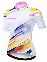cheap -21Grams Women's Short Sleeve Cycling Jersey Summer Spandex White Stripes 3D Bike Top Mountain Bike MTB Road Bike Cycling Quick Dry Moisture Wicking Sports Clothing Apparel / Stretchy / Athleisure