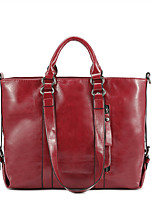 cheap -Women's Bags PU Leather Tote Top Handle Bag Shopping Causal Daily Retro Blue Red Wine Orange Black