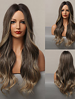 cheap -HAIR CUBE Long Wavy Synthetic Wigs for Women Brown Ombre Cosplay Wigs Natural Hair Wig Heat Resistant