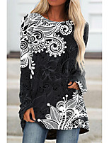 cheap -Women's Floral Theme Abstract Painting T shirt Plants Graphic Long Sleeve Print Round Neck Basic Tops Black / 3D Print