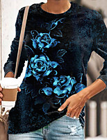 cheap -Women's Floral Theme Painting T shirt Floral Graphic Long Sleeve Print Round Neck Basic Tops Regular Fit Blue Green Red / 3D Print