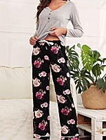 cheap -Women's Pajamas Sets Home Daily Elastic Waist Print Flower Polyster Simple Soft Sweet T shirt Pant Fall Spring V Wire Long Sleeve Long Pant Seamed