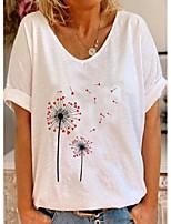 cheap -floral v-neckline short sleeve t-shirts