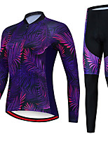 cheap -21Grams Women's Long Sleeve Cycling Jersey with Tights Spandex Polyester Purple Leaf Funny Tropical Flowers Bike Clothing Suit 3D Pad Quick Dry Moisture Wicking Breathable Back Pocket Sports Leaf