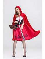cheap -Little Red Riding Hood Dress Cosplay Costume Adults' Women's Halloween Halloween Halloween Festival / Holiday Polyster Red Women's Easy Carnival Costumes Solid Color / Cloak
