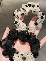 cheap -2 Pcs/set Pearl Bow Large Intestine Hair Circle Retro French Headband Women's Hair Accessories
