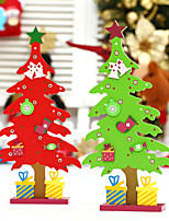 cheap -Christmas Decorations Monolithic Wooden Christmas Tree Ornaments Red Diy Desktop Set Up Children's Creative Gifts