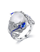 cheap -Ring Moonstone 3D Silver Copper Rhinestone Silver Plated Flower Precious Fashion 1pc 7 8 9 / Women's / Promise Ring