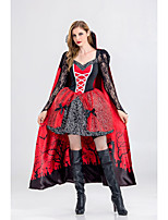cheap -Vampire Cosplay Costume Adults' Women's Halloween Halloween Halloween Festival / Holiday Polyster Red+Black Women's Easy Carnival Costumes Solid Color / Dress / Cloak