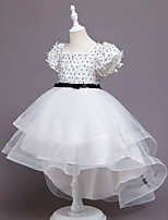 cheap -Kids Little Girls' Dress Solid Colored Party Special Occasion Mesh White Asymmetrical Short Sleeve Princess Cute Dresses Children's Day Fall Winter Slim 3-10 Years / Spring / Summer