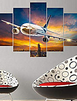 cheap -5 Panels Wall Art Canvas Prints Painting Artwork Picture Landscape Dusk Airplane Home Decoration Dcor Rolled Canvas No Frame Unframed Unstretched