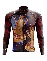 cheap -21Grams Men's Long Sleeve Cycling Jersey Spandex Polyester Fuchsia Cat 3D Funny Bike Top Mountain Bike MTB Road Bike Cycling Quick Dry Moisture Wicking Breathable Sports Clothing Apparel / Stretchy
