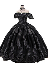 cheap -Ball Gown Elegant Vintage Halloween Quinceanera Dress Off Shoulder Short Sleeve Floor Length Lace with Ruffles Lace Insert Appliques 2021