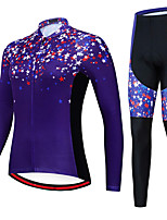 cheap -21Grams Women's Long Sleeve Cycling Jersey with Tights Spandex Polyester Purple Stars Funny Bike Clothing Suit 3D Pad Quick Dry Moisture Wicking Breathable Back Pocket Sports Stars Mountain Bike MTB