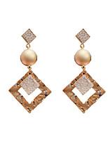 cheap -Women's Clear Cubic Zirconia Hoop Earrings Geometrical Happy Stylish Simple Earrings Jewelry Gold For Daily Prom