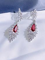 cheap -Women's Clear Red Cubic Zirconia Hoop Earrings Geometrical Happy Stylish Simple Earrings Jewelry Silver For Daily Prom