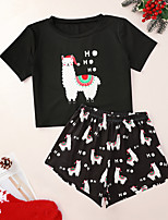 cheap -Women's Pajamas Sets Home Christmas Party Bed Print Santa Claus Elk Christmas Tree Polyester Funny Soft Sweet T shirt Shorts Spring Summer Crew Neck Short Sleeve