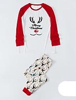 cheap -Women's Warm Pajamas Sets Home Christmas Bed Elastic Waist Print Cartoon Grid / Plaid Elk Polyester Simple Soft Sweet T shirt Pant Fall Winter Crew Neck Long Sleeve Long Pant Seamed