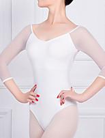 cheap -Ballet Leotard Gymnastics Leotards Women's Bodysuit Cotton High Elasticity Quick Dry Breathable Sweat wicking Solid Color Long Sleeve Training Competition Ballet Dance Rhythmic Gymnastics Gymnastics