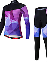 cheap -21Grams Women's Long Sleeve Cycling Jersey with Tights Spandex Polyester Purple Funny Bike Clothing Suit 3D Pad Quick Dry Moisture Wicking Breathable Back Pocket Sports Geometric Mountain Bike MTB
