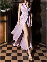 cheap -A-Line Minimalist Elegant Engagement Formal Evening Dress Shirt Collar Sleeveless Sweep / Brush Train Satin with Sleek Split 2021