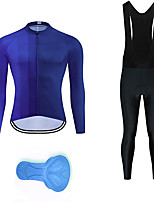 cheap -21Grams Men's Long Sleeve Cycling Jersey with Bib Tights Summer Spandex Royal Blue Gradient Bike Quick Dry Moisture Wicking Sports Gradient Mountain Bike MTB Road Bike Cycling Clothing Apparel