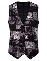 cheap -Men's Vest Gilet Daily Outdoor Summer Short Coat Single Breasted V Neck Regular Fit Breathable Casual Jacket Sleeveless Camo / Camouflage Print Gray