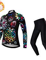 cheap -21Grams Women's Long Sleeve Cycling Jersey with Tights Winter Fleece Spandex Black Dot Bike Quick Dry Moisture Wicking Sports Dot Mountain Bike MTB Road Bike Cycling Clothing Apparel / Stretchy