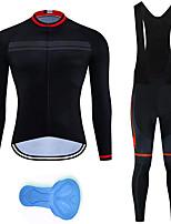cheap -21Grams Men's Long Sleeve Cycling Jersey with Bib Tights Summer Spandex Black Bike Quick Dry Moisture Wicking Sports Horizontal Stripes Mountain Bike MTB Road Bike Cycling Clothing Apparel / Stretchy