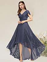 cheap -A-Line Empire Elegant Party Wear Formal Evening Dress V Neck Sleeveless Asymmetrical Chiffon Lace with Pleats 2021