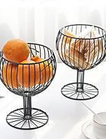 cheap -Nordic Ins Style Iron Art Storage Fruit Plate Simple Home Living Room Desktop Storage Creative Drain Fruit Basket