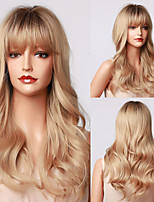 cheap -HAIR CUBE Long Wavy Blonde Ombre Synthetic Wigs With Bangs Natural Daily Wigs for Women Cosplay Party Heat Resistant Hair Wig