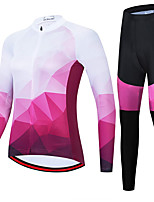 cheap -21Grams Women's Long Sleeve Cycling Jersey with Tights Spandex Polyester Fuchsia Funny Bike Clothing Suit 3D Pad Quick Dry Moisture Wicking Breathable Back Pocket Sports Geometric Mountain Bike MTB