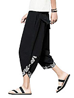 cheap -men's casual wide leg baggy harem pant lightweight drop crotch summer beach linen capri pants black
