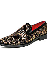 cheap -Men's Loafers & Slip-Ons Casual British Daily Party & Evening PU Black Fall Spring / Rhinestone / Sparkling Glitter