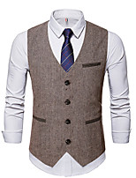 cheap -Men's Vest Gilet Business Daily Spring Summer Short Coat Regular Fit Lightweight Breathable Business Casual Jacket Sleeveless Solid Color Pocket Brown
