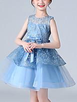 cheap -Kids Little Girls' Dress Jacquard Flower Party Birthday Embroidered Mesh Bow Light Blue Knee-length Sleeveless Princess Sweet Dresses Children's Day Summer Regular Fit 3-12 Years