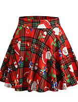 cheap -Santa Suit Skirt Masquerade Adults' Women's Cute Christmas Christmas New Year Christmas Carnival Festival / Holiday Spandex Polyester Red Women's Easy Carnival Costumes Plaid Checkered Tree