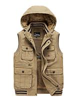 cheap -Men's Vest Gilet Street Sport Daily Fall Winter Regular Coat Regular Fit Warm Casual Sports Jacket Long Sleeve Plain Full Zip Pocket Army Green Khaki Black