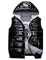 cheap -Men's Down Daily Winter Regular Coat Loose Windproof Warm Sporty Jacket Sleeveless Solid Color Letter Drawstring Silver Black Red